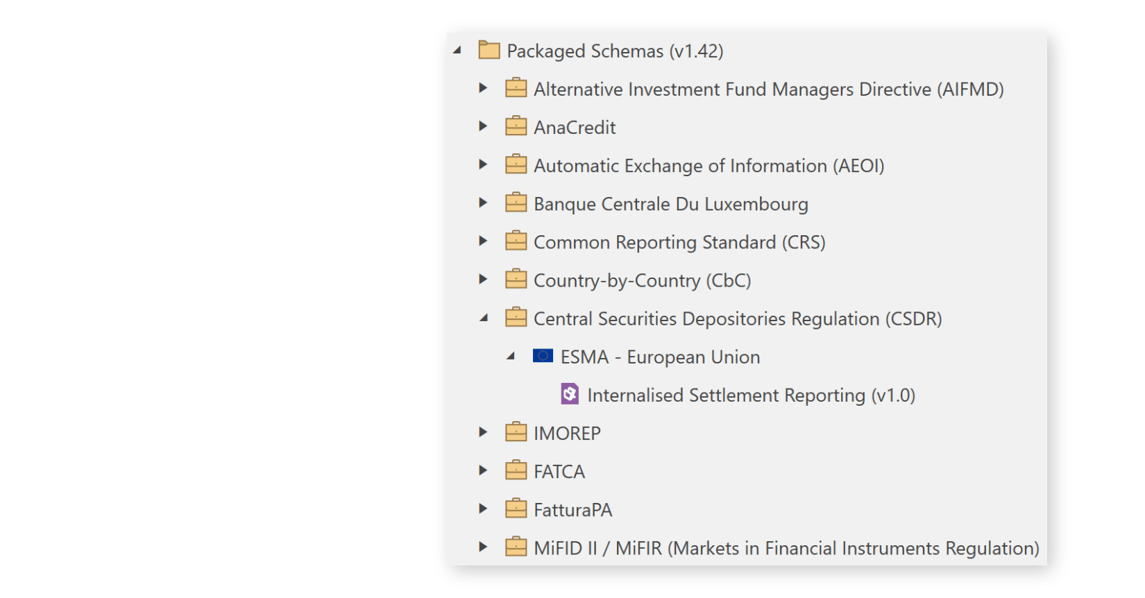 CSDR Reporting Schema in XML Authority